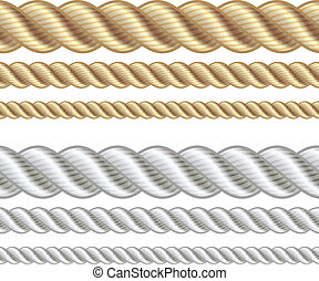 Set of different thickness ropes isolated on white, vector...