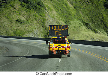follow me - road construction ahead you must follow the...