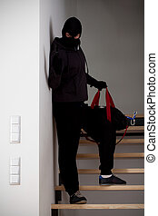 Burglar on stairways during escaping with loot
