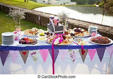 tabla, puesto, fresco, bread, Condimentos, boda