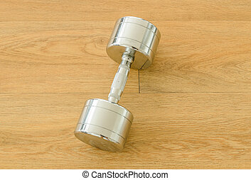 Dumbells on floor in the gym