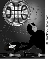 Dj and Disco Ball - Silhouette of a dj playing records under...