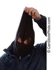 bandido, toma, de, máscara