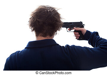 Suicide with a gun - Depressed man want to commit a suicide...