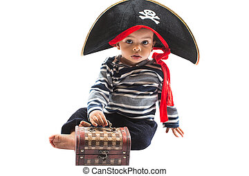 African American child boy in costume pirate on white...