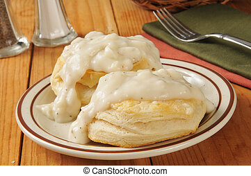 Biscuits with pepper gravy - Fresh baked biscuits with...