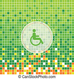 disabled symbol on green moses background