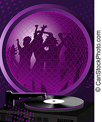 Dance Party - Turntable and a frame with people dancing...