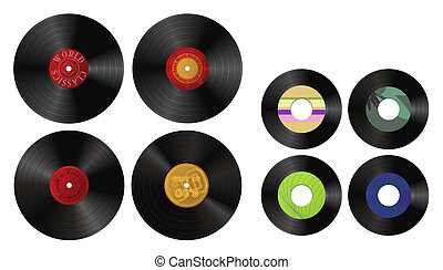 My Record Collection - Clip-arts of records with various...