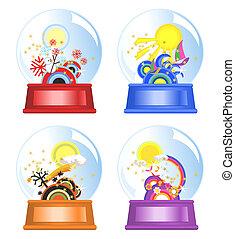 Four Seasons Water Globes