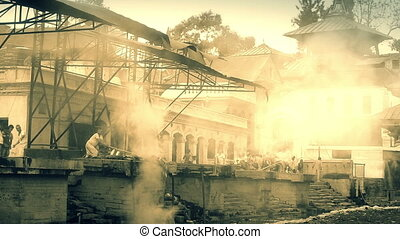 View of body cremation grounds, pashupatinath temple, kathmandu, nepal