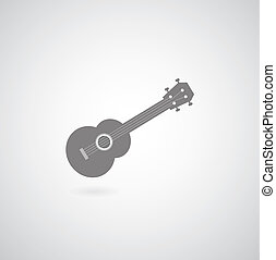 Ukulele symbol - vector ukulele symbol on gray background