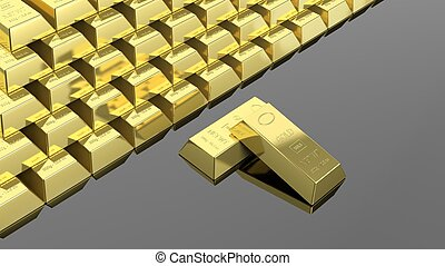 Big stack of gold bars isolated on black