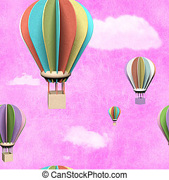 Seamless pattern with 3d air balloons in the sky