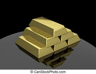 Stack of gold bars isolated on black background
