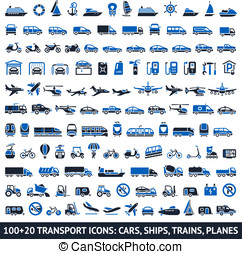 100 AND 20 Transport blue icons, vector illustrations,...