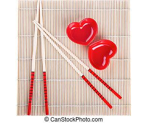 Sushi ware on white background. - Sushi ware. Chopsticks,...