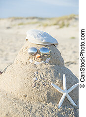 Snowman Made Out Of Sand With Hat