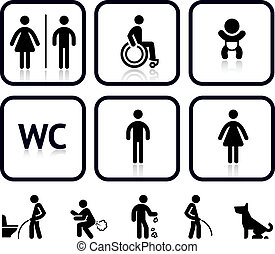 Toilet icons, vector illustrations, silhouettes isolated on...