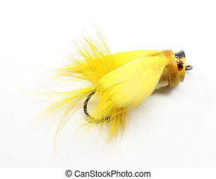 Yellow Fly rod Lure - Yellow fly rod lure isolated on white.