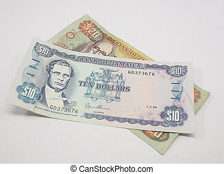 Jamaican Money isolated on a white background.
