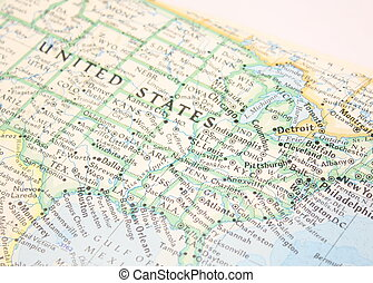 Map of US - Map of United States of America, close up.