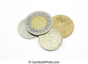 Canadian Coins - Canadian coins isolated on a white...