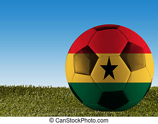 Ghana football - A football over grass decorated with Ghana...