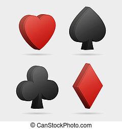 Vector 3d card symbols