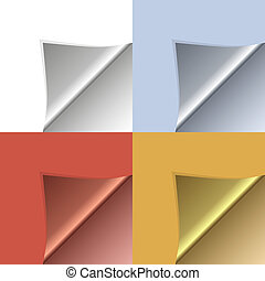 Vector peeling corners set - Set of clean paper vector...