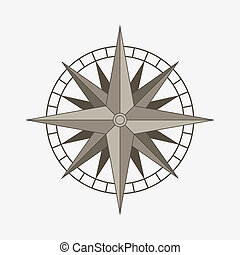 Vector compass rose - Clean brown retro vector wind or...