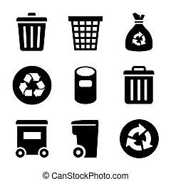 déchets, icônes, ensemble
