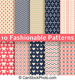 Fashionable vector seamless patterns tiling Retro - 10...