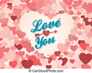 Vintage Valentine's Day Background With Hearts