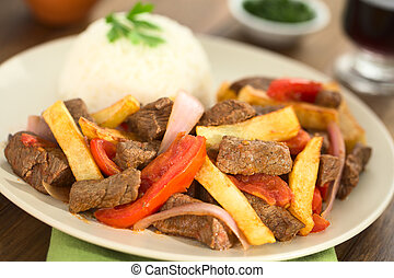 Peruvian Dish Called Lomo Saltado - Peruvian dish called...