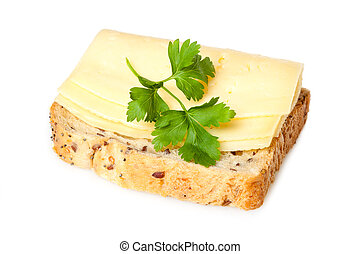 Cheese sandwich - Sandwich with cheese and parsley - on a...