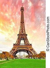 Eiffel, 塔, -view, CHAMPS, de, 火星, 巴黎, 法國