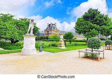 parís, -, septiembre, 18:, Louvre, museo, parque,...
