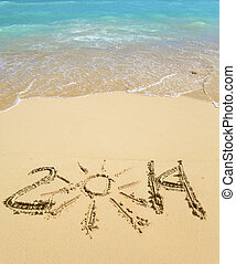 2014 inscription on the sand near the sea.