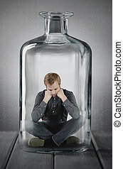 caught in a bottle - a man is caught in a bottle
