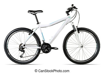 white mountain bike before white background - a white...