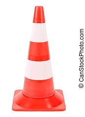 Pylon or warning cone before white background - a pylon or...