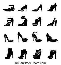 Set of sixteen models of stylish women footwear