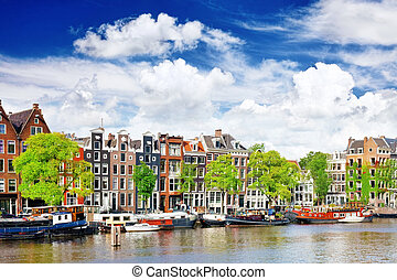 Amsterdam with canal in the downtown,Holland - Amsterdam...