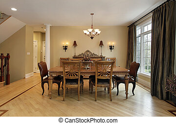 Dining room in luxury home with buffet