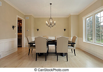 Dining room with candle sconces - Dining room in luxury home...