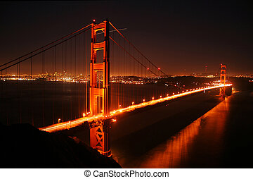 Golden Gate by night - golden gate bridge seen at night...