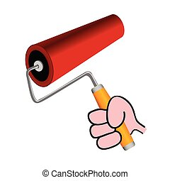 roller for painting color vector