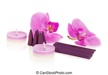 Flowers of orchid and the aromatic set - Flowers of an...