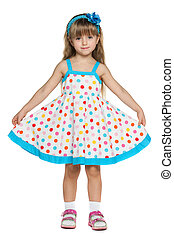 Little girl in polka dot dress - Portrait of a little girl...